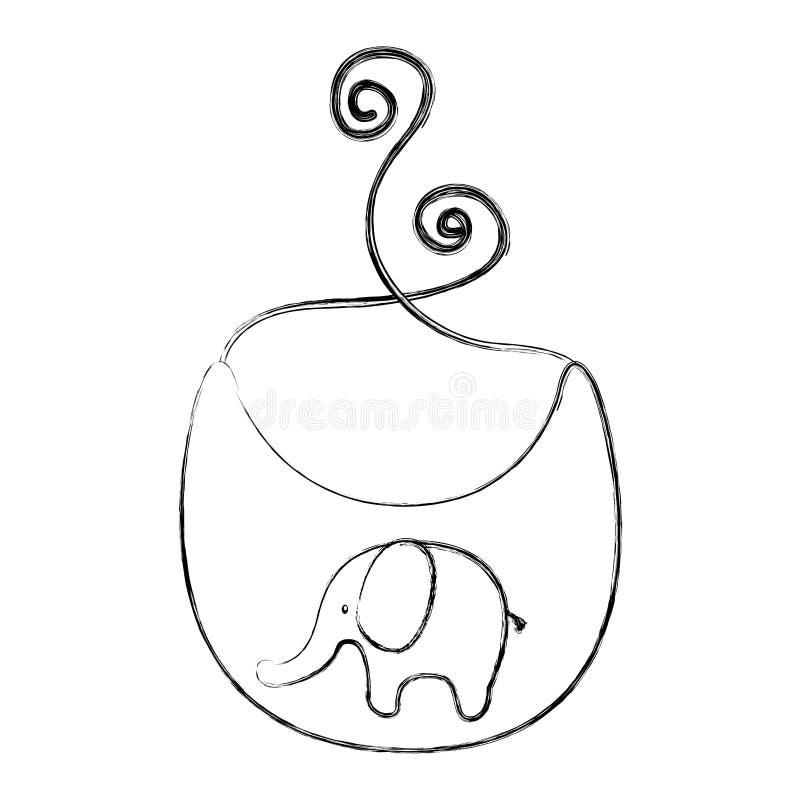 Babero del bebé con el elefante ilustración del vector