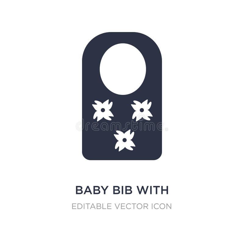 babero del bebé con flower de icon en el fondo blanco Ejemplo simple del elemento del concepto de la moda ilustración del vector