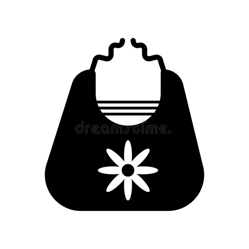 Babero del bebé con la muestra y el símbolo del vector del icono del diseño floral aislado libre illustration