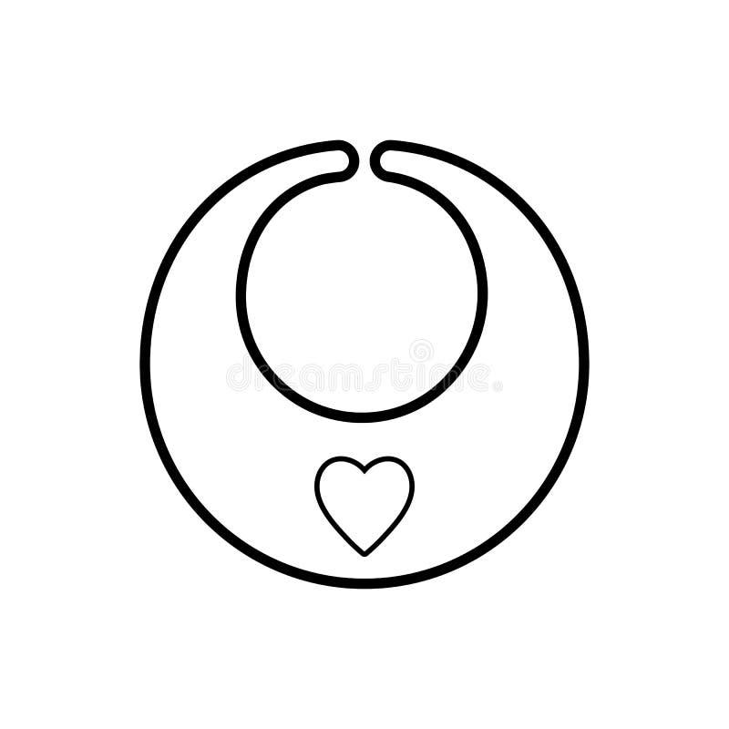 babero Icono en un fondo blanco, línea diseño del bebé stock de ilustración