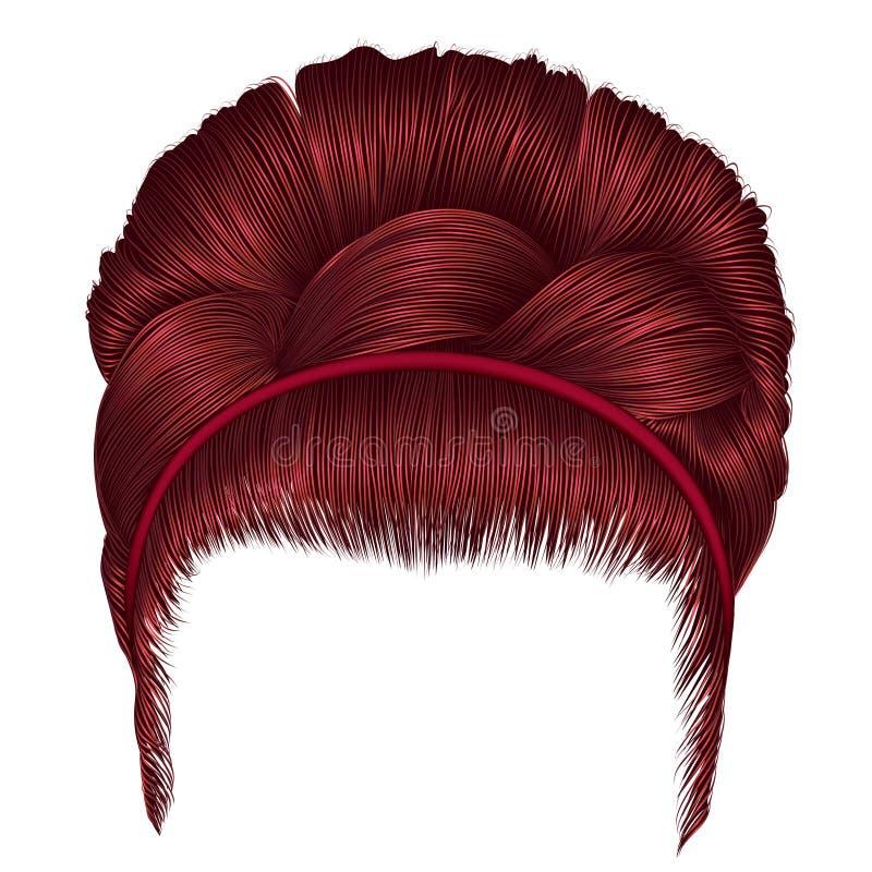 Babette των τριχών με τα κόκκινα χρώματα πλεξίδων οι καθιερώνουσες τη μόδα γυναίκες διαμορφώνουν απεικόνιση αποθεμάτων