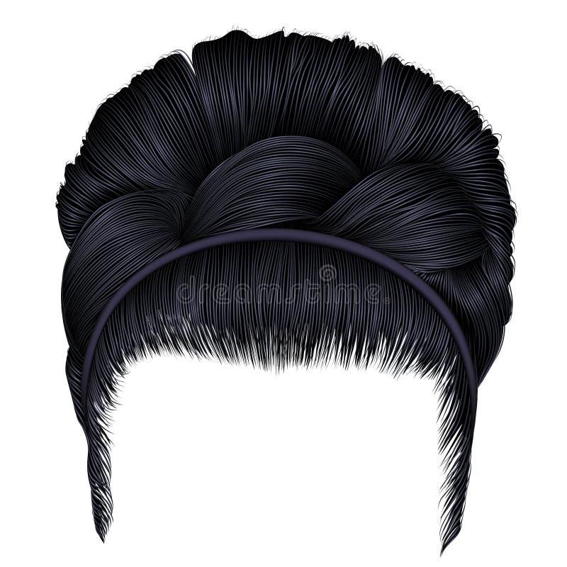 Babette των τριχών με τα μαύρα χρώματα brunette πλεξίδων όλα τα οποιαδήποτε στοιχεία διαμορφώνουν τις μεμονωμένες συστάσεις μεγέθ απεικόνιση αποθεμάτων