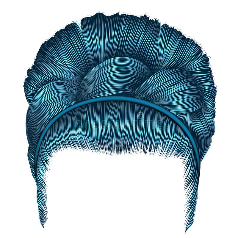 Babette των τριχών με τα μπλε χρώματα πλεξίδων οι καθιερώνουσες τη μόδα γυναίκες διαμορφώνουν ελεύθερη απεικόνιση δικαιώματος