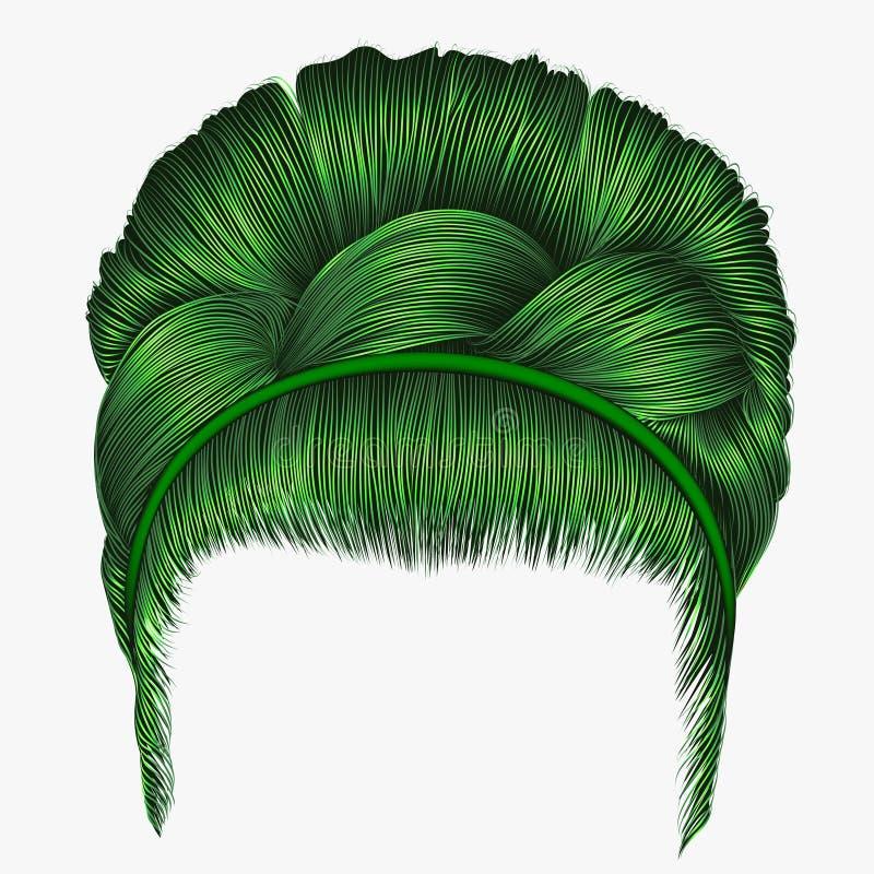 Babette των τριχών με τα πράσινα χρώματα πλεξίδων καθιερώνον τη μόδα fashio γυναικών απεικόνιση αποθεμάτων