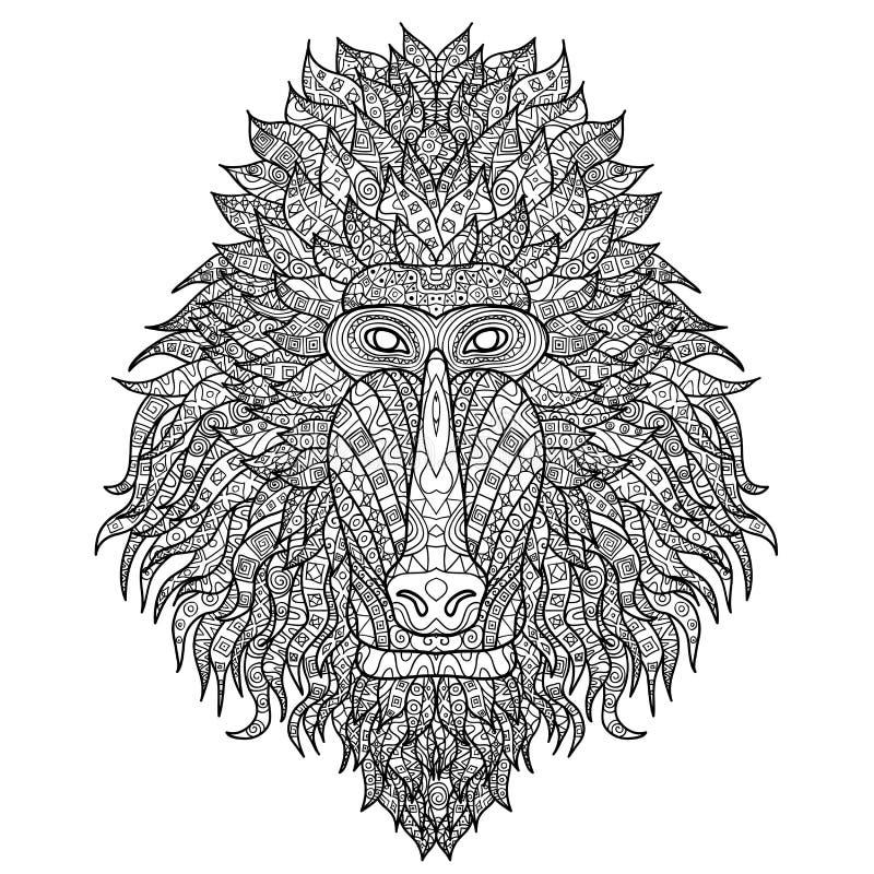 Babianhuvud som stiliseras i zentanglestil royaltyfri illustrationer