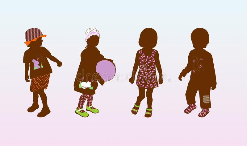 Babies. Fashionable clothes and shoes vector illustration