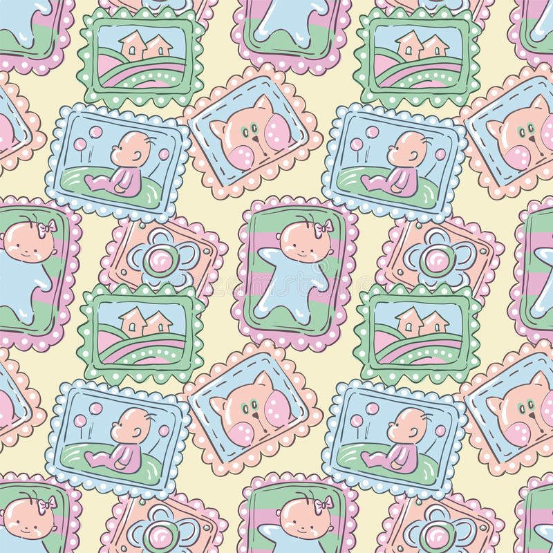 Babies. Seamless pattern in pastel tones - cartoon babies vector illustration
