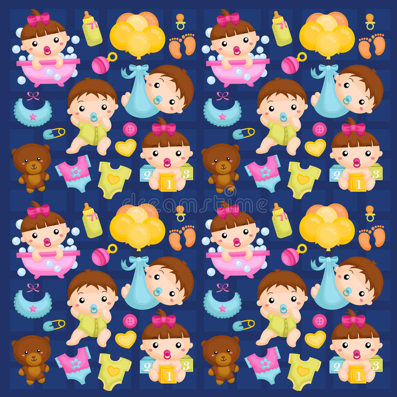 Babies in Action Background. A vector of Babies in action background royalty free illustration