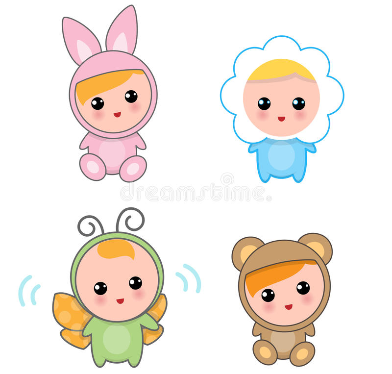 Babies Of Animal Suits vector illustration