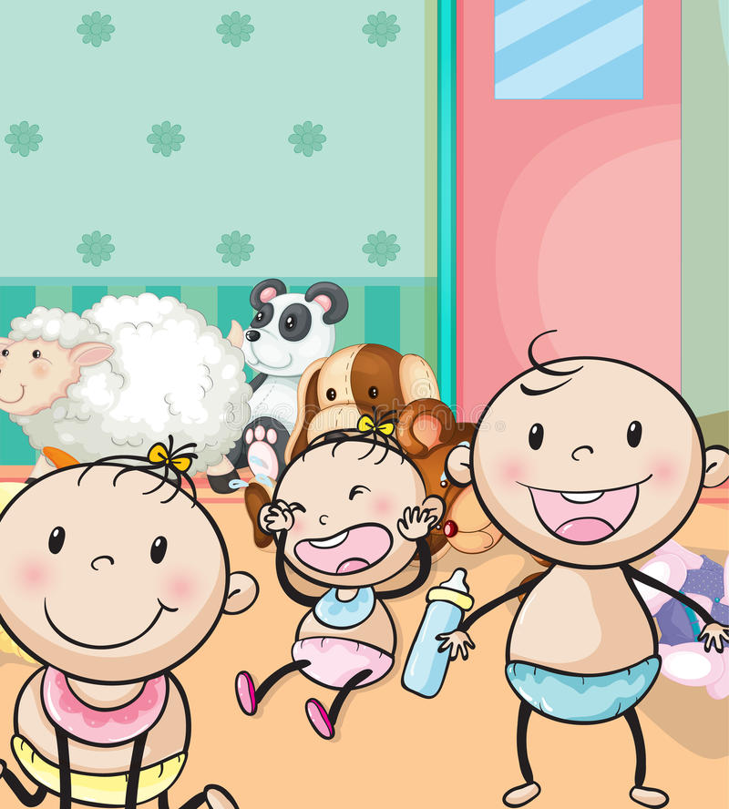 Babies and animal toys. Illustration of babies and animal toys in the room stock illustration