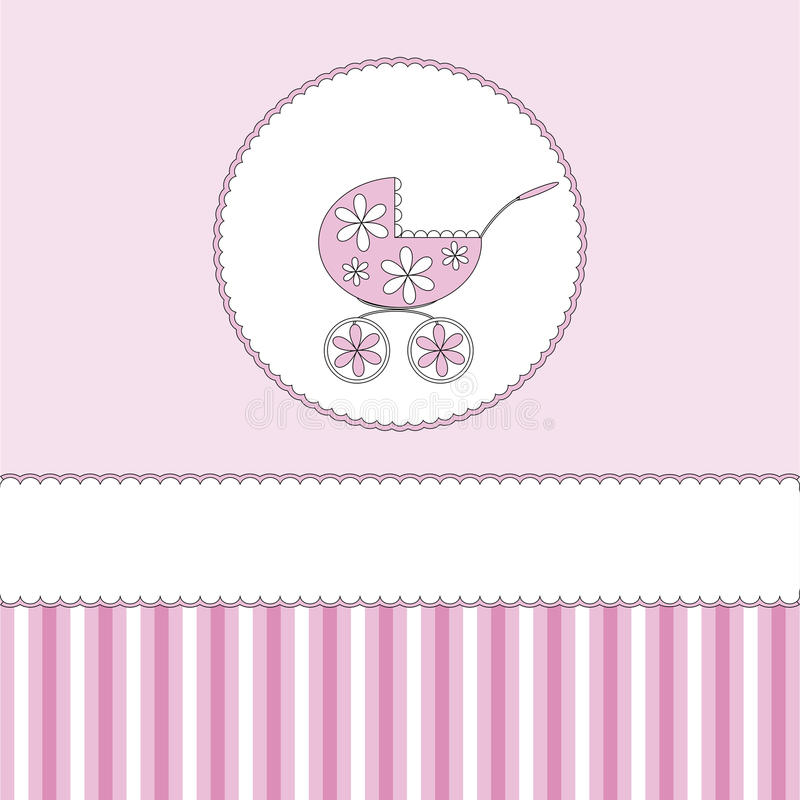 Babies background. Pink babies background with pram stock illustration