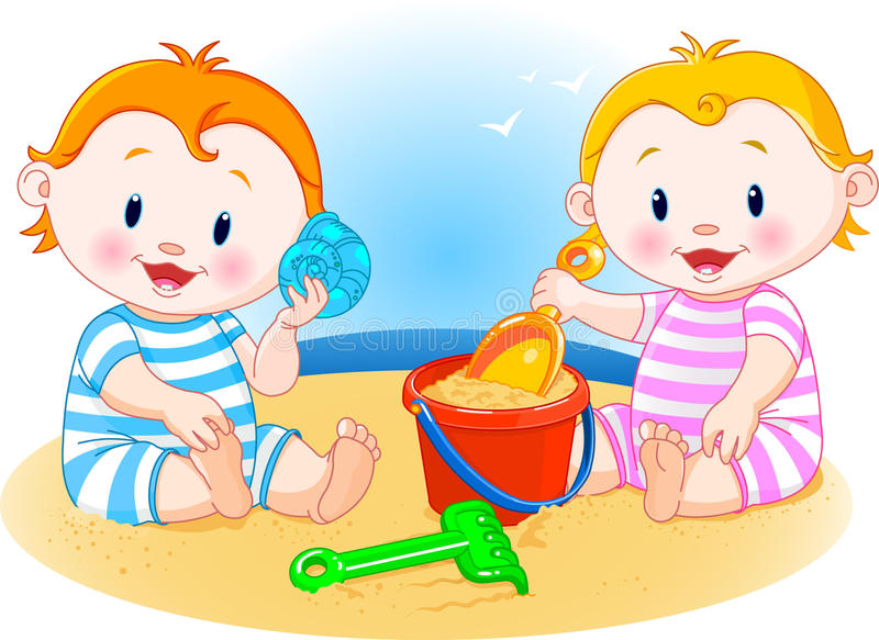 Download Babies at the beach stock vector. Image of shell, building - 13964277