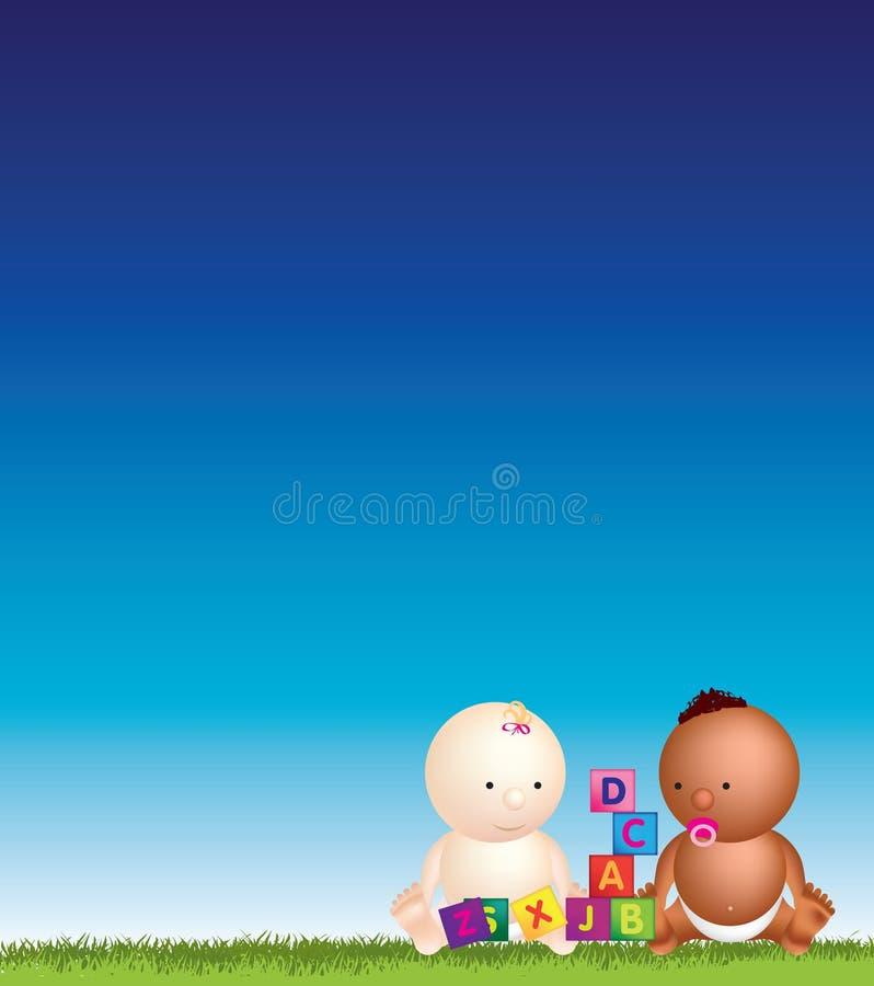 Babies blue sky play vector illustration