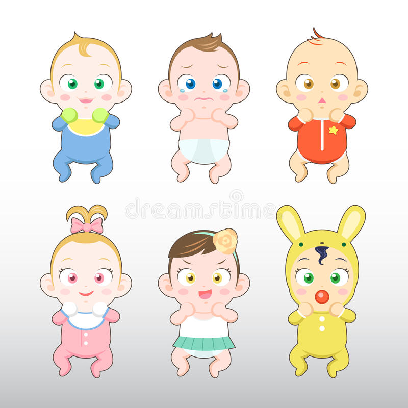 Babies Boy and Girl Illustration. Babies Boy and Girl Variation Illustration vector illustration