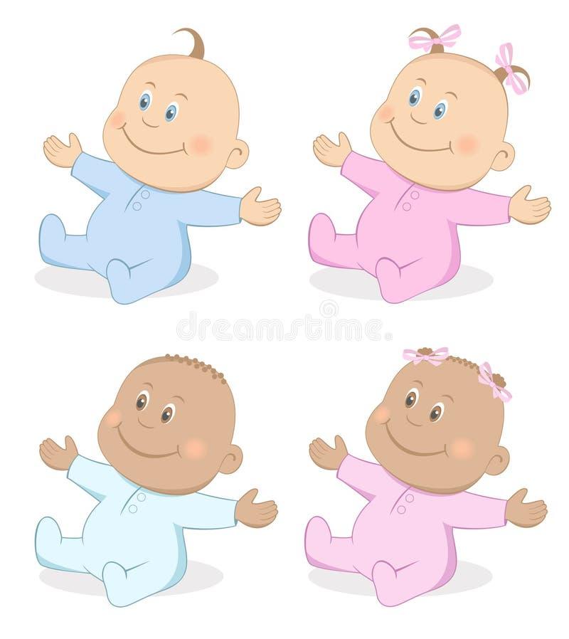 Babies boy and girl mascot set 4. Vector illustration of happy babies boy and girl in blue and pink colors royalty free illustration