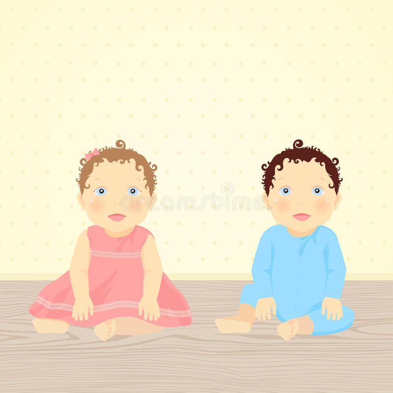 Babies: Brother and Sister. Brother and Sister. Vector illustration of babies (twins stock illustration