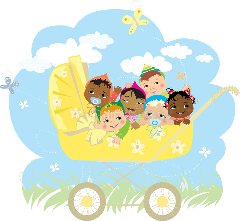 Babies in a buggy vector illustration