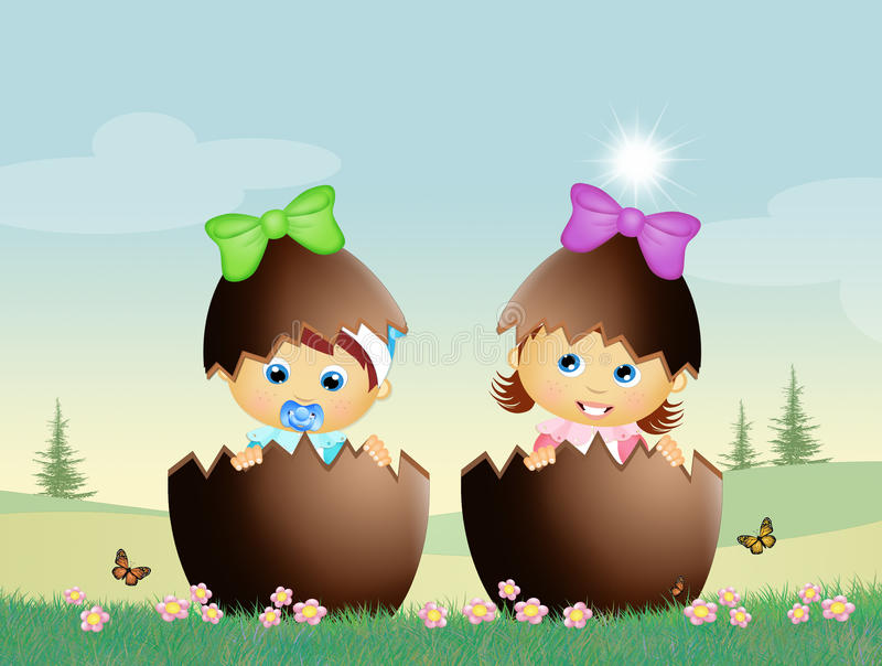 Babies in the chocolate eggs. Cute illustration of babies in the chocolate eggs royalty free illustration