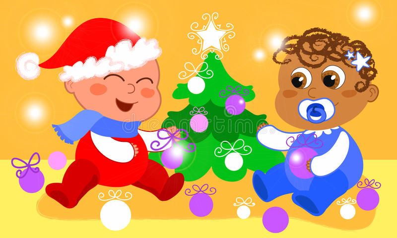 Babies and Christmas tree royalty free illustration