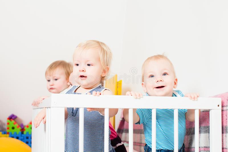Babies in the crib. Group of little babies are stand up in the crib, day care center stock photos