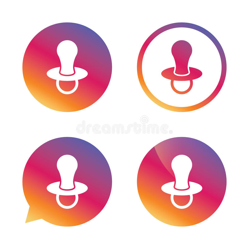Babies dummy sign icon. Child pacifier symbol. vector illustration
