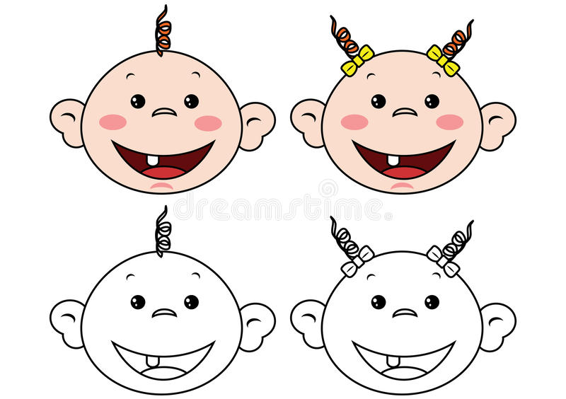 Babies faces. To painting on white vector illustration