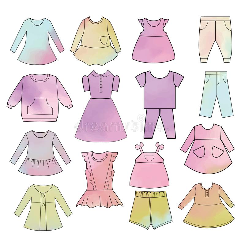 Babies fashion collection Hand drawn watercolor backdrop. Vector collection of baby and children clothes. Babies fashion collection Hand drawn watercolor royalty free illustration
