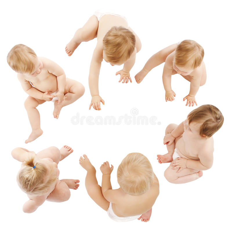 Babies Group, Kids Toddlers Crawling in Infant Diapers, Children royalty free stock photo