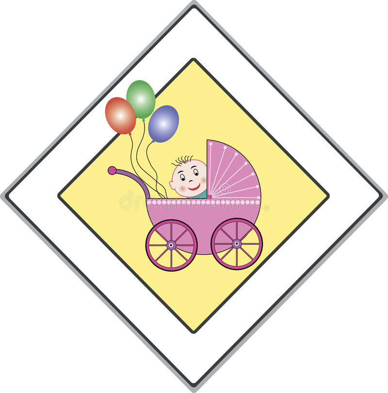 Babies have the right of way. A funny traffic-sign that means: babies have the right of way. This file is also available as EPS-file vector illustration