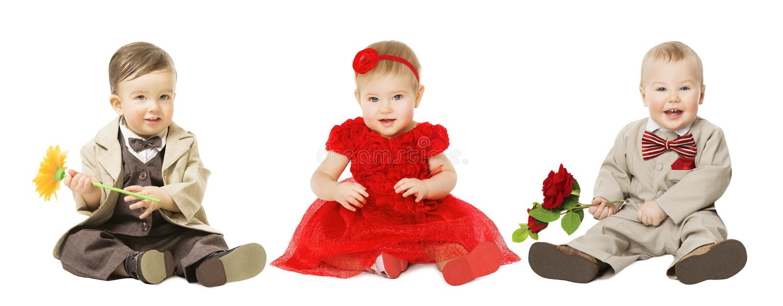 Babies Kids Well Dressed, Elegant Children with Flower, Fashion royalty free stock photo