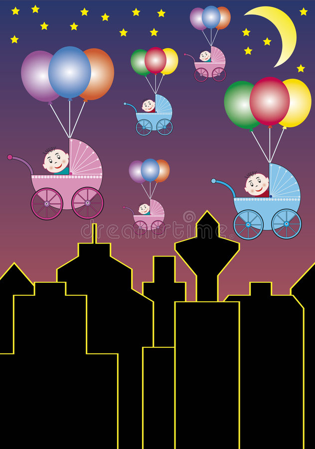 Babies leaving the city royalty free illustration
