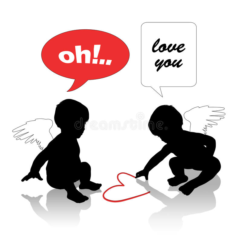 Babies in love royalty free illustration