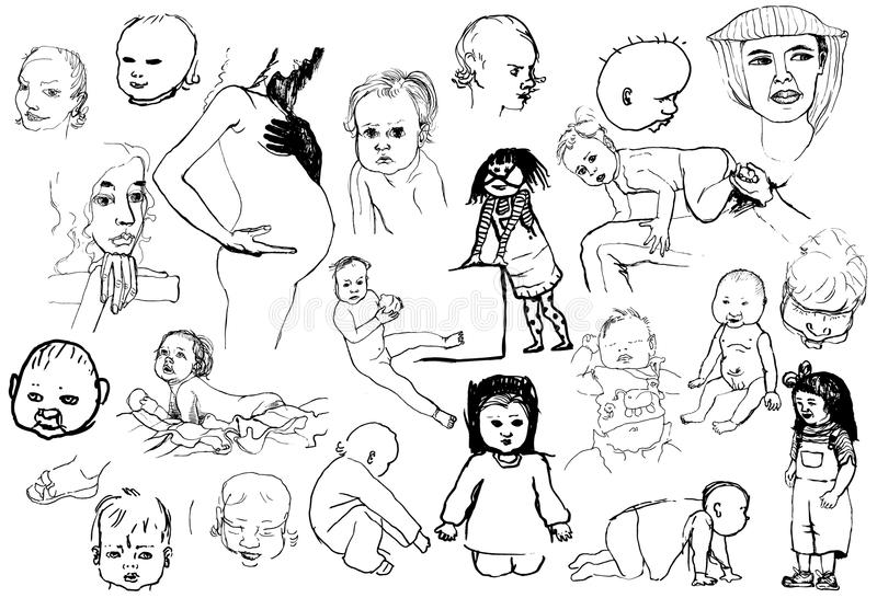 Babies and mothers stock illustration
