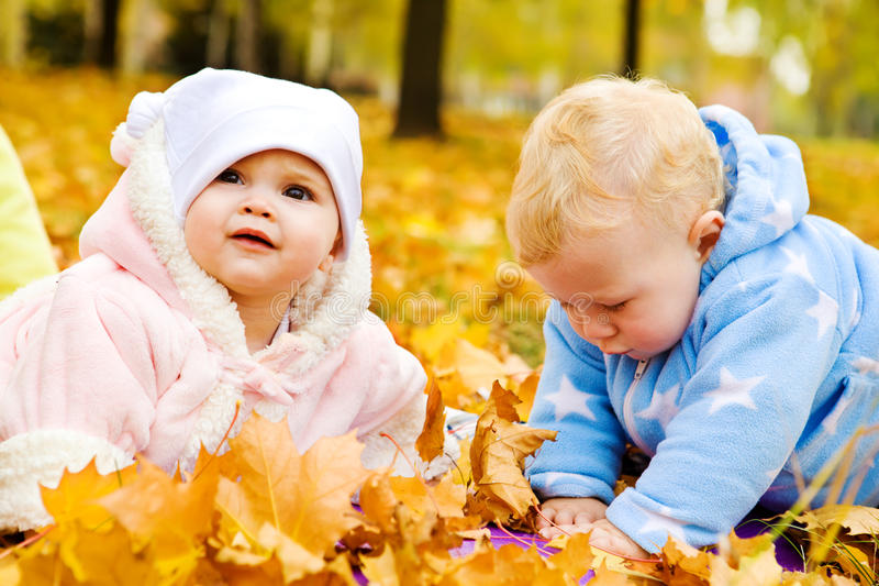 Babies in park. Lovely babies crawling in the autumn park