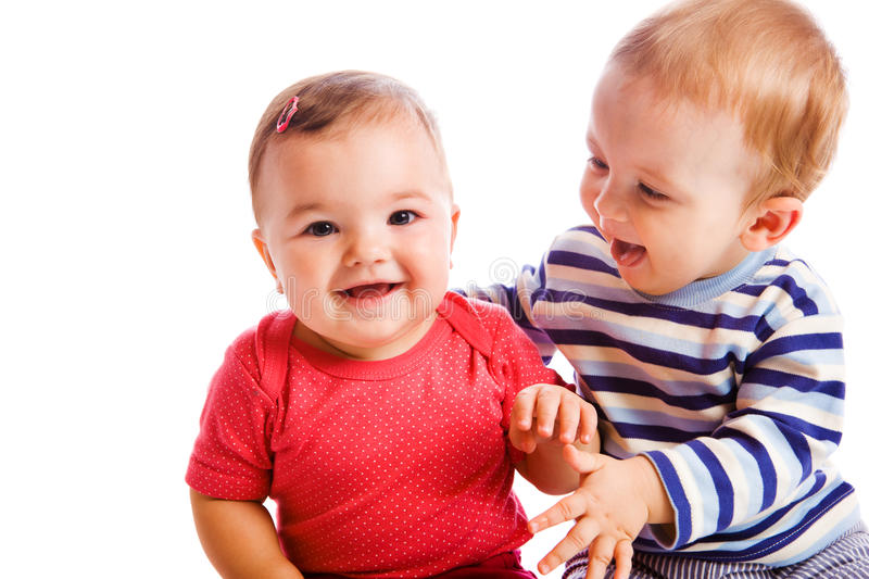 Babies playing stock images