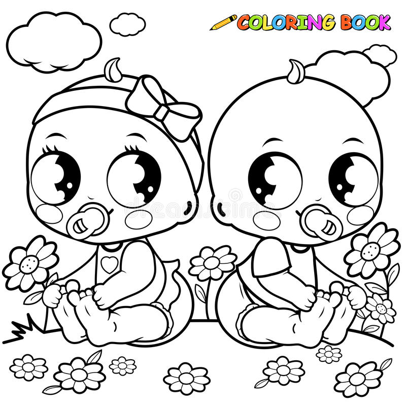 Babies playing outside. Black and white coloring book page. royalty free illustration