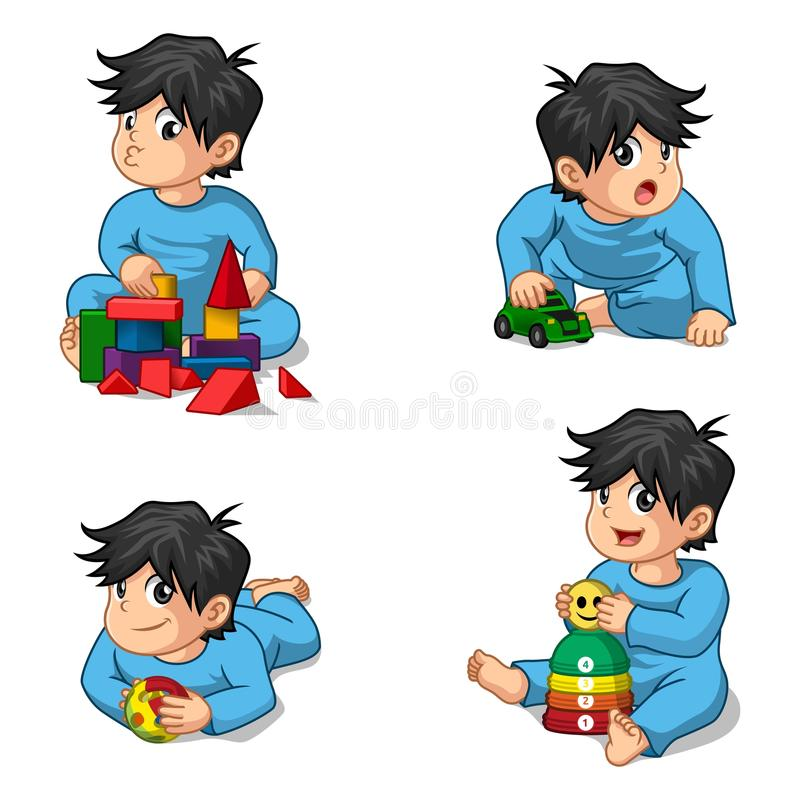 Babies Playing Toys Cartoon Character. This image is a babies playing toys cartoon character vector illustration vector illustration