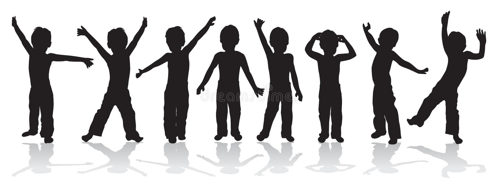 Babies posing. Babies playing and posing in a line stock illustration