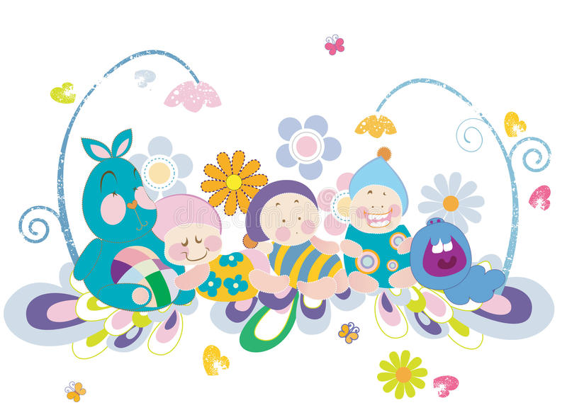 Babies and stuffed animals. An illustration of babies and hearts and flowers stock illustration