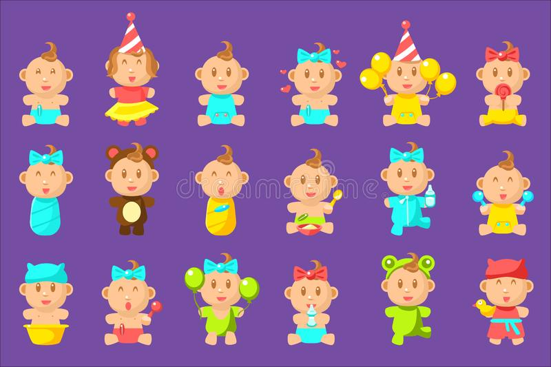 Babies An Toddles Sticker Set Of Flat Simplified Cartoon Style Vector Icons. Babies An Toddles Sticker Set Of Flat Simplified Cartoon Style Vector Icons royalty free illustration