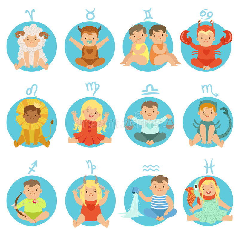 Babies In Twelve Zodiac Signs Costumes Sitting And Smiling Dressed As Horoscope Symbols. Adorable Toddlers Flat Vector Illustrations For Astrological Stickers stock illustration