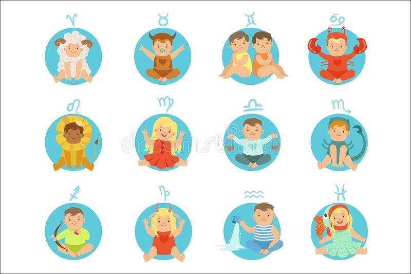 Babies In Twelve Zodiac Signs Costumes Sitting And Smiling Dressed As Horoscope Symbols. Adorable Toddlers Flat Vector Illustrations For Astrological Stickers vector illustration
