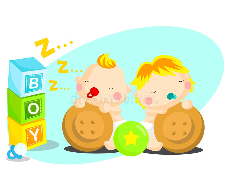Babies. A twin baby with many toys royalty free illustration