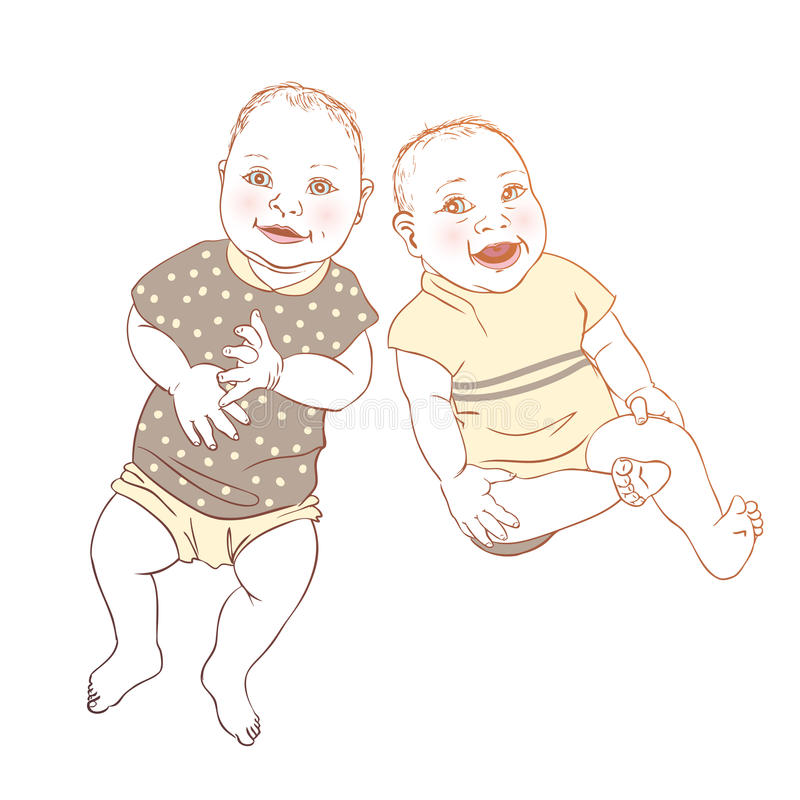 Babies twins. Cute cartoon royalty free illustration