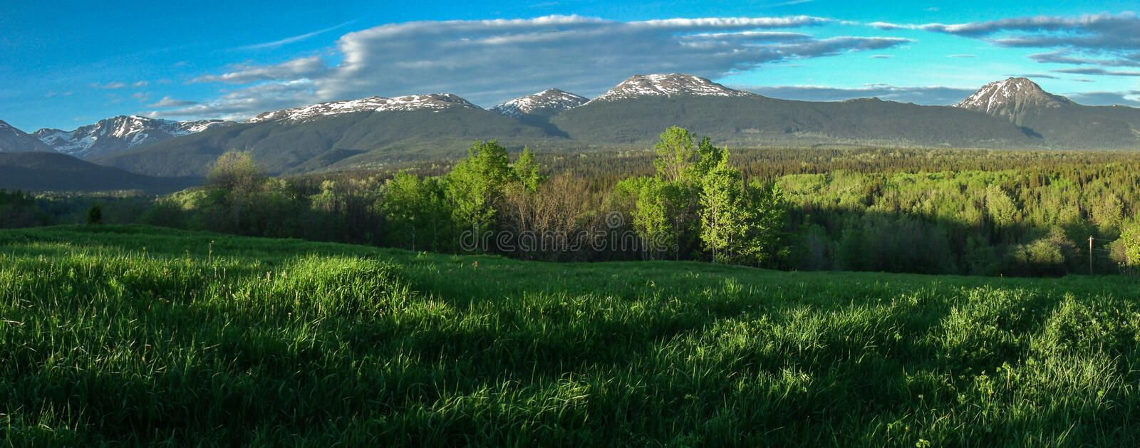 Babine Mountain Park - Northern BC Canada. A panoramic view of the Babine Mountain Park from a western view point looking east. The park is located just east of royalty free stock images