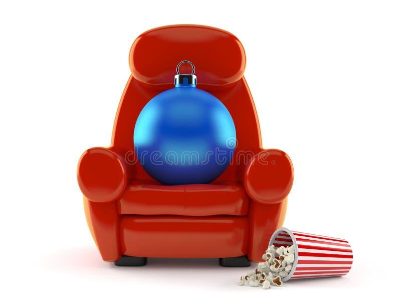 Babiole de Noël avec le fauteuil et le maïs éclaté de théâtre illustration de vecteur