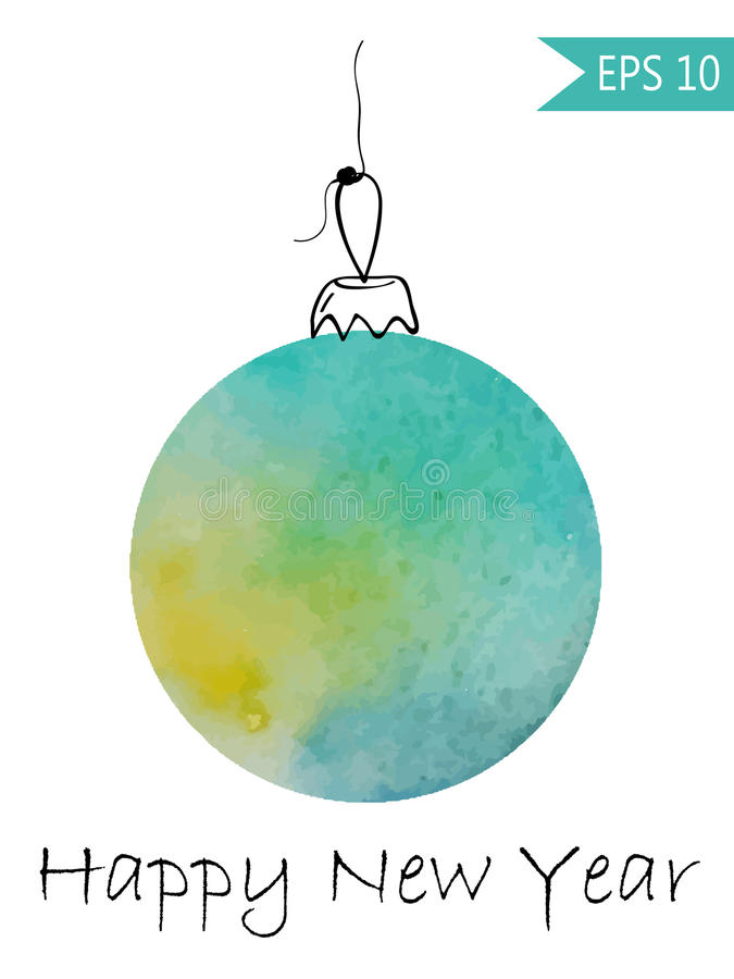 Babiole de Noël d'aquarelle colorée sur le fond blanc dans la boule de nouvelle année de vecteur illustration libre de droits