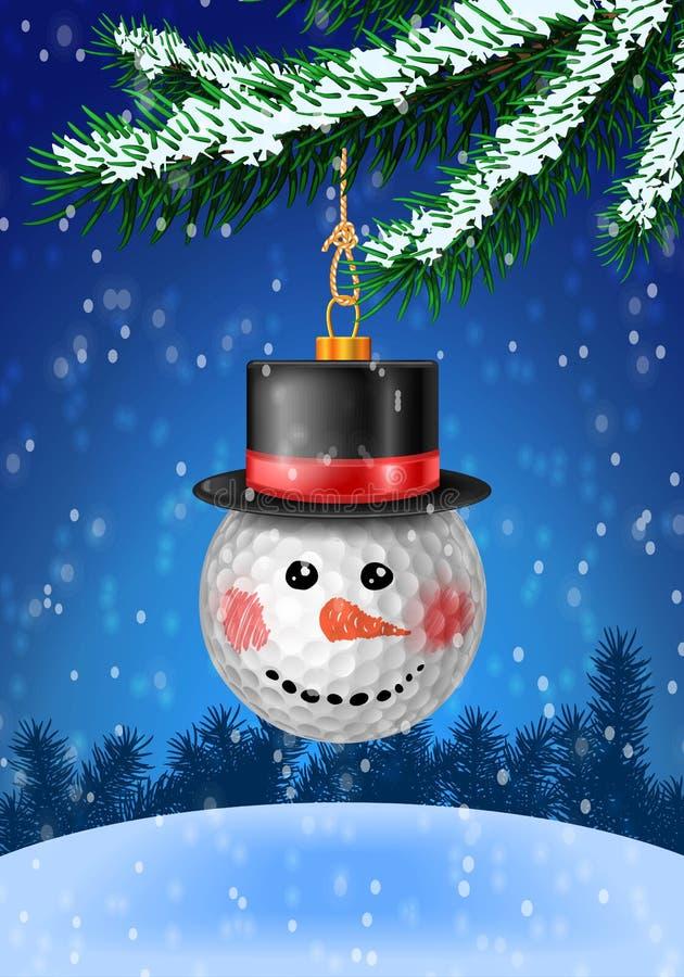 Babiole de Noël sur l'arbre de Noël avec la neige sur l'arbre illustration libre de droits