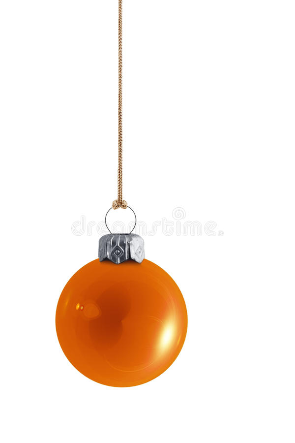 Babiole orange brillante de Noël photographie stock libre de droits