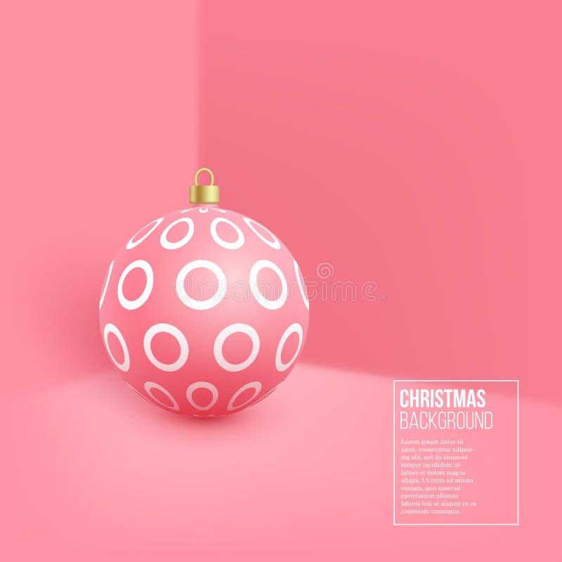 Babiole rose de Noël avec le modèle géométrique style 3d réaliste sur le fond de mur, illustration de vecteur illustration libre de droits